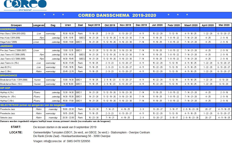 COREO - Dansschema 19-20 Final - 130719