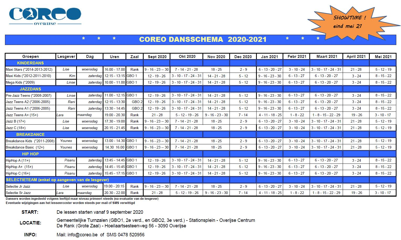 COREO Dansschema 20-21 Final
